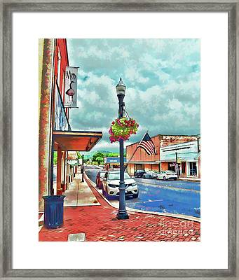 Framed Print featuring the photograph A Look Down Main Street - Waynesboro Virginia - Art Of The Small Town by Kerri Farley