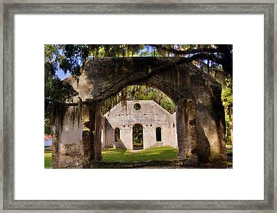 Framed Print featuring the photograph A Look Into The Chapel Of Ease St. Helena Island Beaufort Sc by Lisa Wooten
