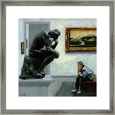 A Lot To Think About - Oil Painting Framed Print by Linda Apple