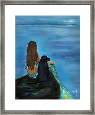 Framed Print featuring the painting A Loyal Buddy by Leslie Allen