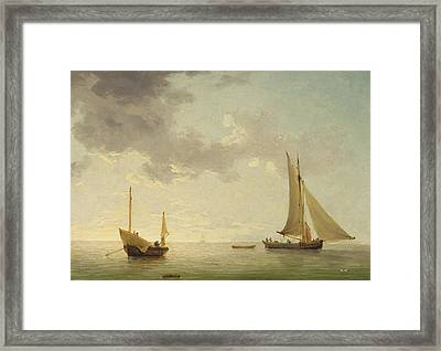 A Lugger And A Smack In Light Airs Framed Print by Charles Brooking