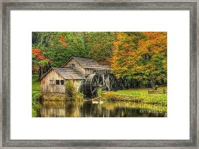 A Mabry Mill Autumn Framed Print by Darren Fisher