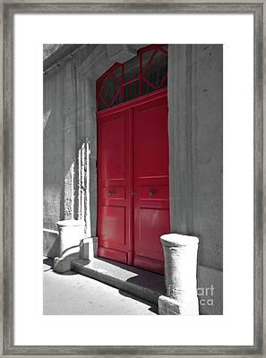 A Magic Red Door Framed Print by Christine Amstutz