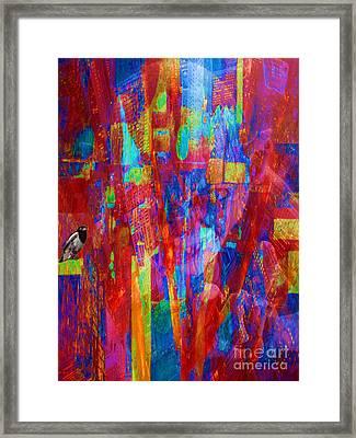 A Magpie At Wallstreet Framed Print by Mojo Mendiola