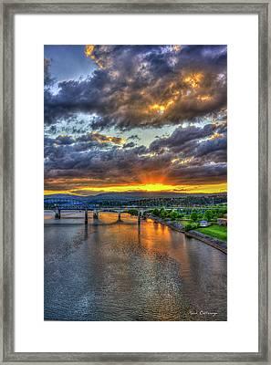 A Majestic View 2 Chattanooga Bridges Sunset Art Framed Print by Reid Callaway