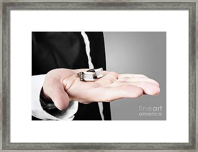 A Male Model Showcasing Cuff Links In His Hand Framed Print