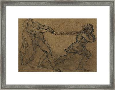 A Male Nude Pulled By Another Male Framed Print by Theodore Gericault