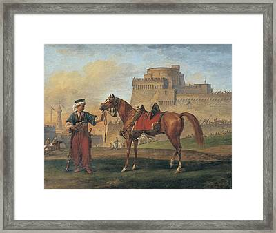 A Mameluk Leading His Horse With A Citadel In The Background Framed Print