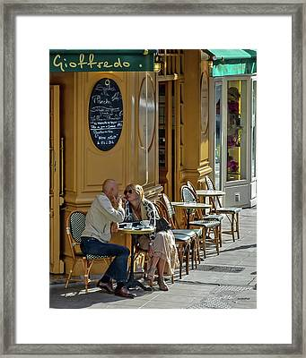 A Man A Woman A French Cafe Framed Print by Allen Sheffield