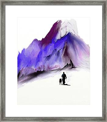 A Man And His Dog Framed Print by Jo Baby