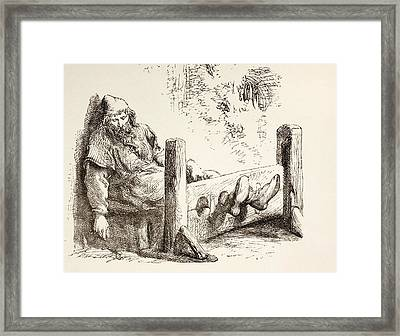 A Man In Stocks. From The Illustrated Framed Print