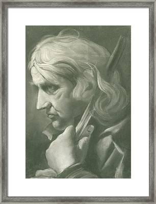 A Man Leaning On A Staff Framed Print