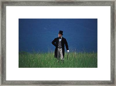 A Man Outstanding In His Field Framed Print