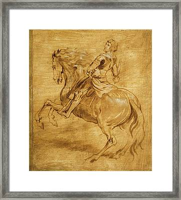 Framed Print featuring the painting A Man Riding A Horse by Anthony van Dyck
