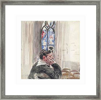 A Man Seated In A Church Framed Print by Giovanni Boldini