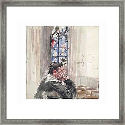 A Man Seated In A Church Framed Print