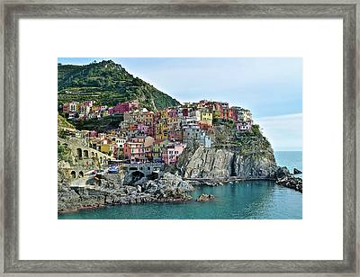 Framed Print featuring the photograph A Manarola Morning by Frozen in Time Fine Art Photography