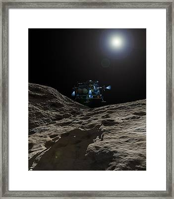 A Manned Asteroid Lander Approaches Framed Print by Walter Myers