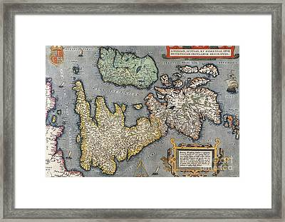 A Map Of Great Britain, 1587 Framed Print