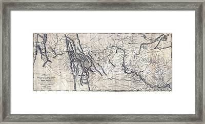 A Map Of Lewis And Clarks Track Framed Print by Everett