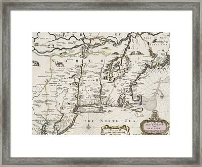 A Map Of New England And New York Framed Print by John Speed