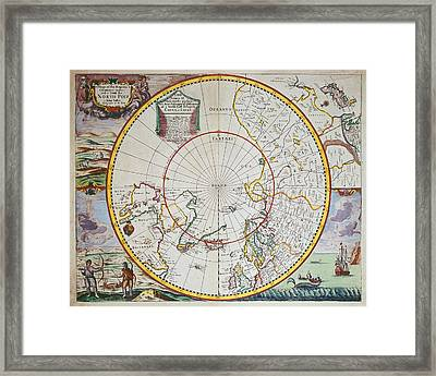 A Map Of The North Pole Framed Print by John Seller