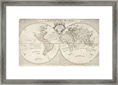 A Map Of The World Framed Print by John Senex