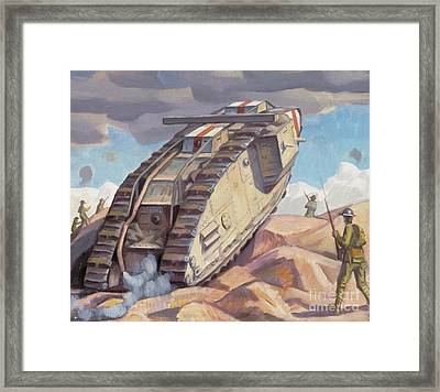 A Mark V Tank Going Into Action, Wwi Framed Print