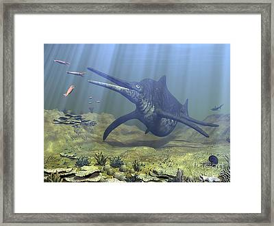 A Massive Shonisaurus Attempts To Make Framed Print by Walter Myers