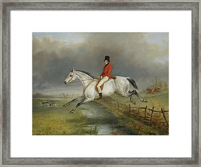 A Master Of The Royal Buckhounds Clearing A Fence On A Grey Hunter Framed Print