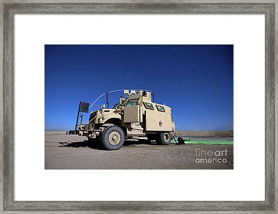 A Maxxpro Mrap Vehicle Under A Starry Framed Print