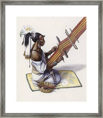 A Maya Womans Water Lily  And Decorated Framed Print by Terry W. Rutledge