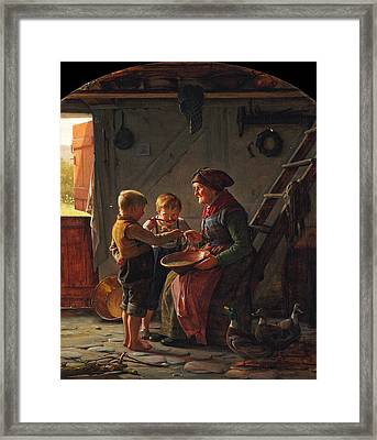 A Meal. Two Boys And A Grandmother Tasting The Potato Soup Framed Print by Carl Heinrich Bloch