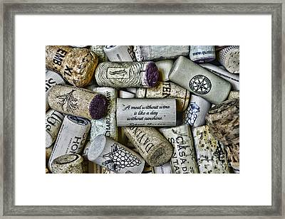 A Meal Without Wine Is Like A Day Without Sunshine. Framed Print