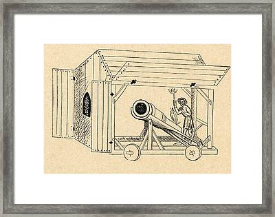 A Medieval Mobile Cannon Being Fired Framed Print by Vintage Design Pics