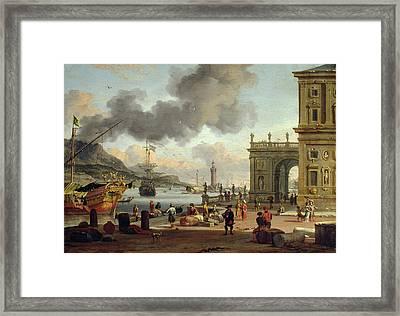 A Mediterranean Harbour Scene   Framed Print