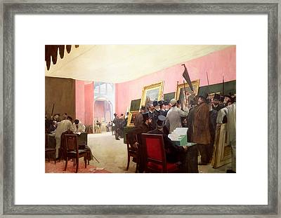 A Meeting Of The Judges Of The Salon Des Artistes Francais Framed Print by Henri Gervex
