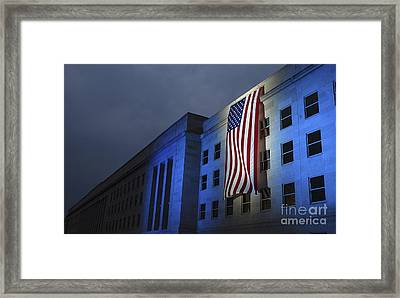 A Memorial Flag Is Illuminated On The Framed Print