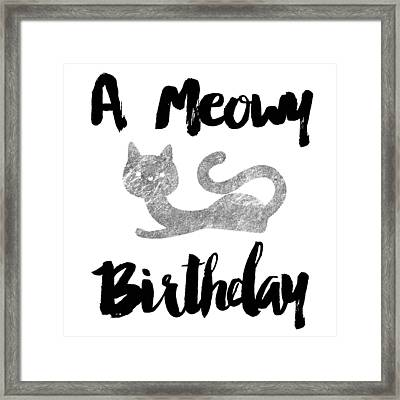A Meowy Birthday For Cat Lovers Framed Print by Sabine Jacobs