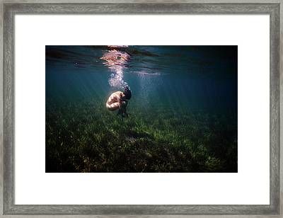 A Mermaid In A Sea Of Coral Framed Print