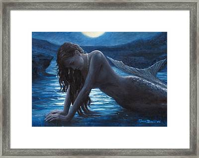 A Mermaid In The Moonlight - Love Is Mystery Framed Print by Marco Busoni