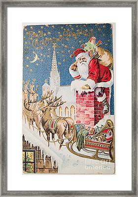 A Merry Christmas Vintage Greetings From Santa Claus And His Raindeer Framed Print