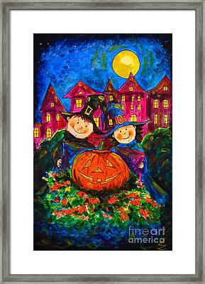 A Merry Halloween Framed Print by Zaira Dzhaubaeva