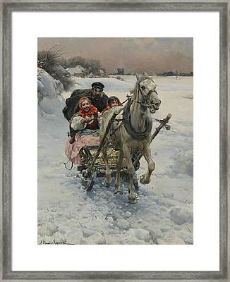 A Merry Ride Framed Print by Alfred Kowalski