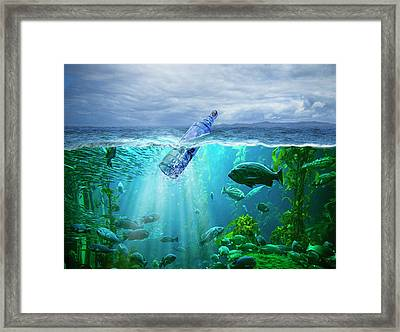 A Message In A Bottle Framed Print