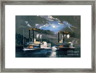 A Midnight Race On The Mississippi Framed Print by Currier and Ives
