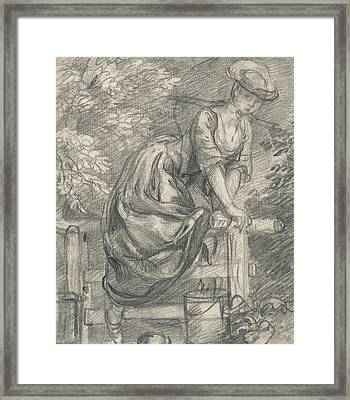 A Milkmaid Climbing A Stile Framed Print