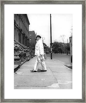 A Milkman Delivering Milk Framed Print by Underwood Archives
