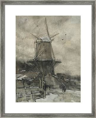 A Mill In Winter Framed Print by Jacob Maris