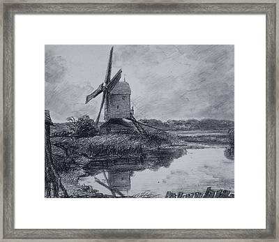 A Mill On The Banks Of The River Stour Charcoal On Paper Framed Print